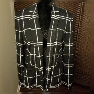Express Plaid Black & White Blazer